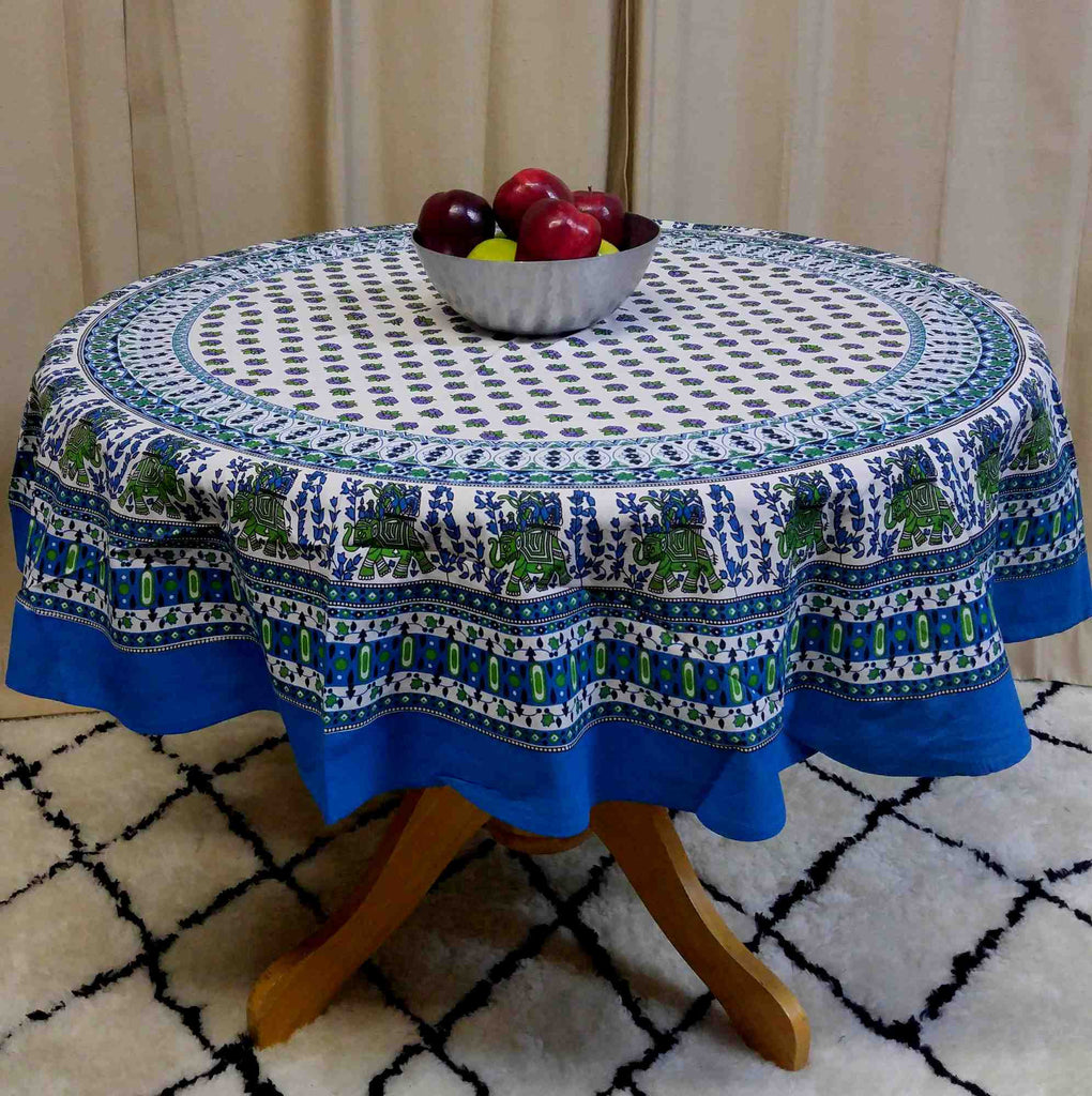 "Handmade 100% Cotton Elephant Mandala Floral 60"" Round Tablecloth Azure Blue & Green - Sweet Us"