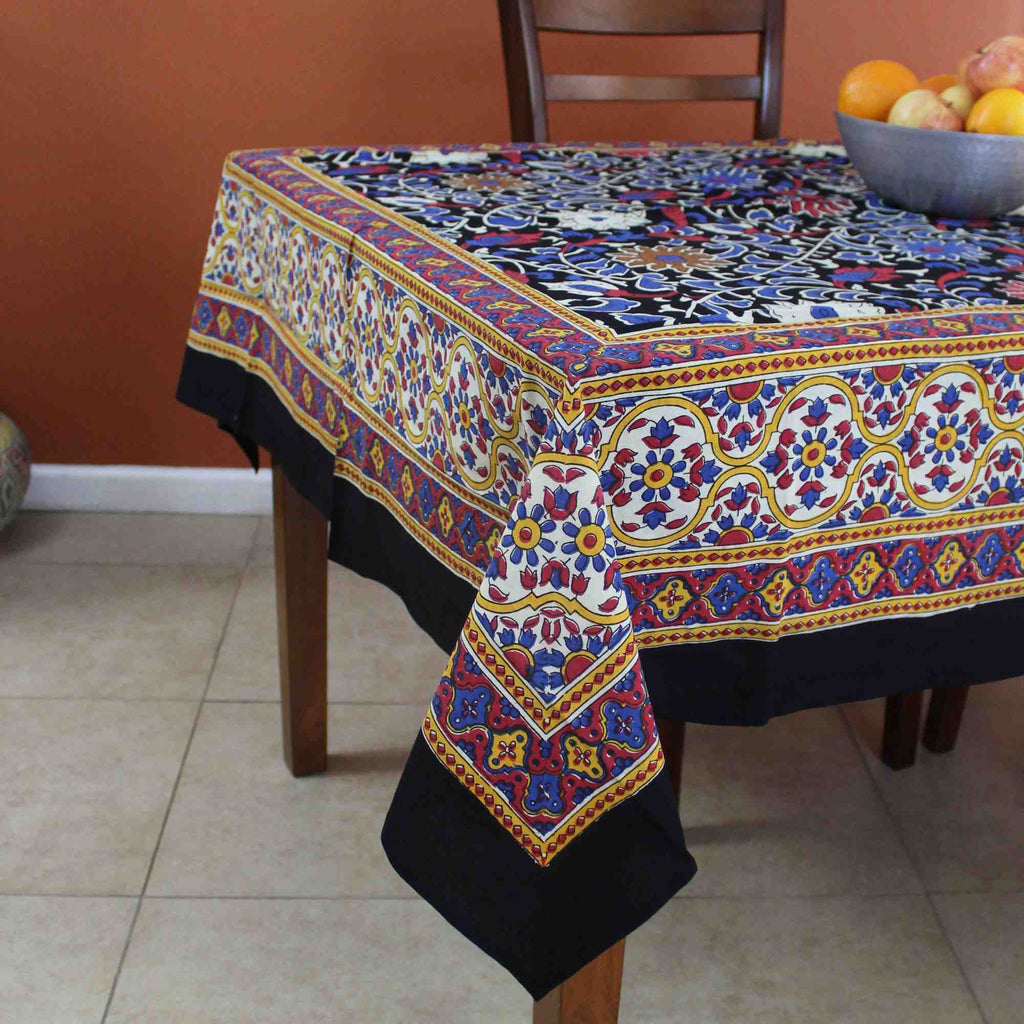 Cotton Sunflower Tablecloth for a Square Table 60x60 Black & Yellow