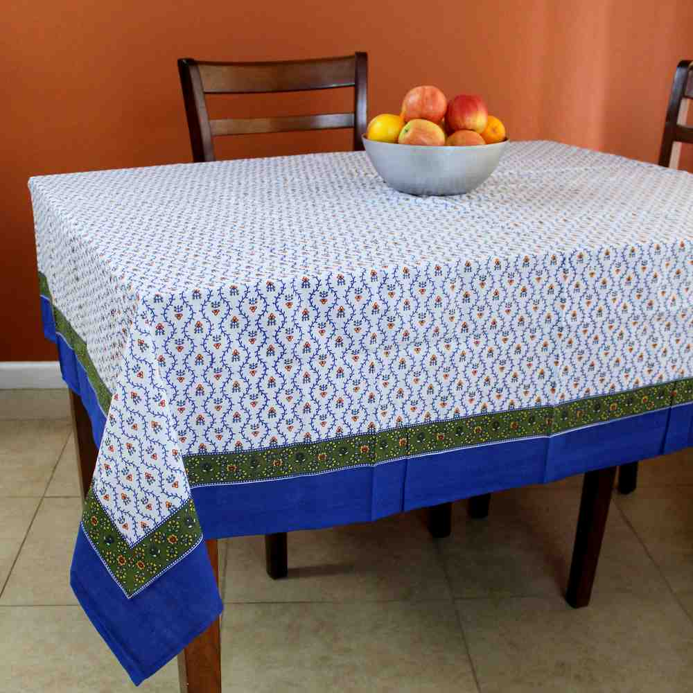 Cotton Floral Vine Tablecloth for Square Tables Blue Green 60x60 & 72x72 Inch