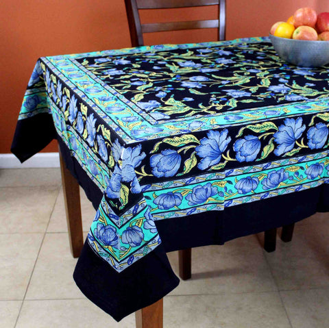 Cotton French Floral Tablecloth for Square Table 60x60 Black & Blue