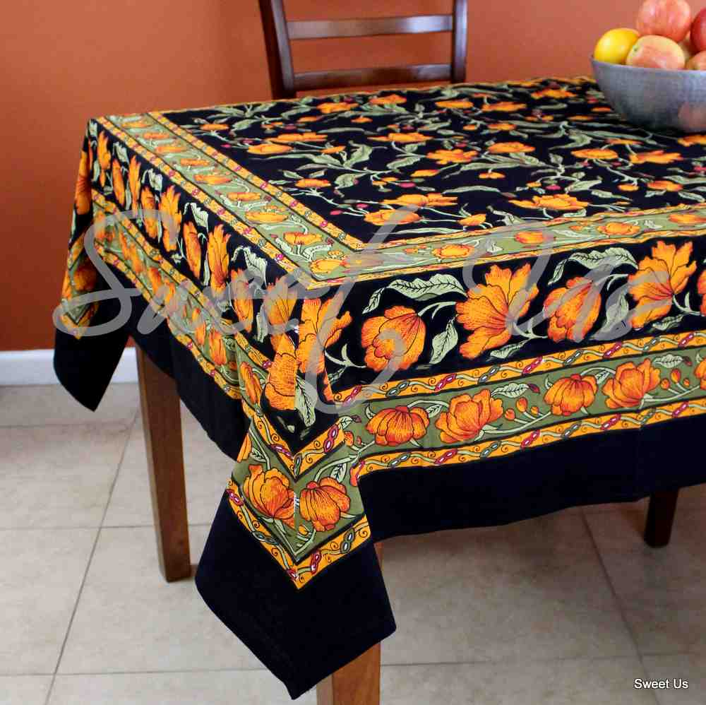Cotton French Floral Tablecloth Round Kitchen Dining Linen Black Amber - 4 sizes
