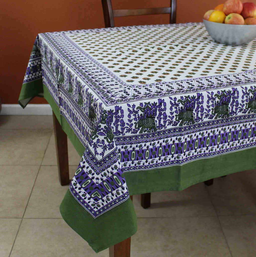 Cotton Floral Elephant Tablecloth for Square Tables 60x60 Olive Green Purple