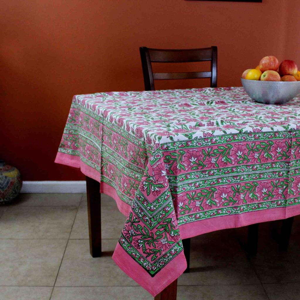 Hand Block Print Floral Cotton Tablecloth Square 60 x 60 inches Pink Green Blue Gold Red - Sweet Us