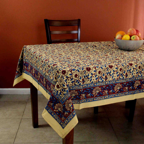 Handmade Hand Block Print 100% Cotton Eternal Floral Vine Tablecloth 60x60 Gold Red