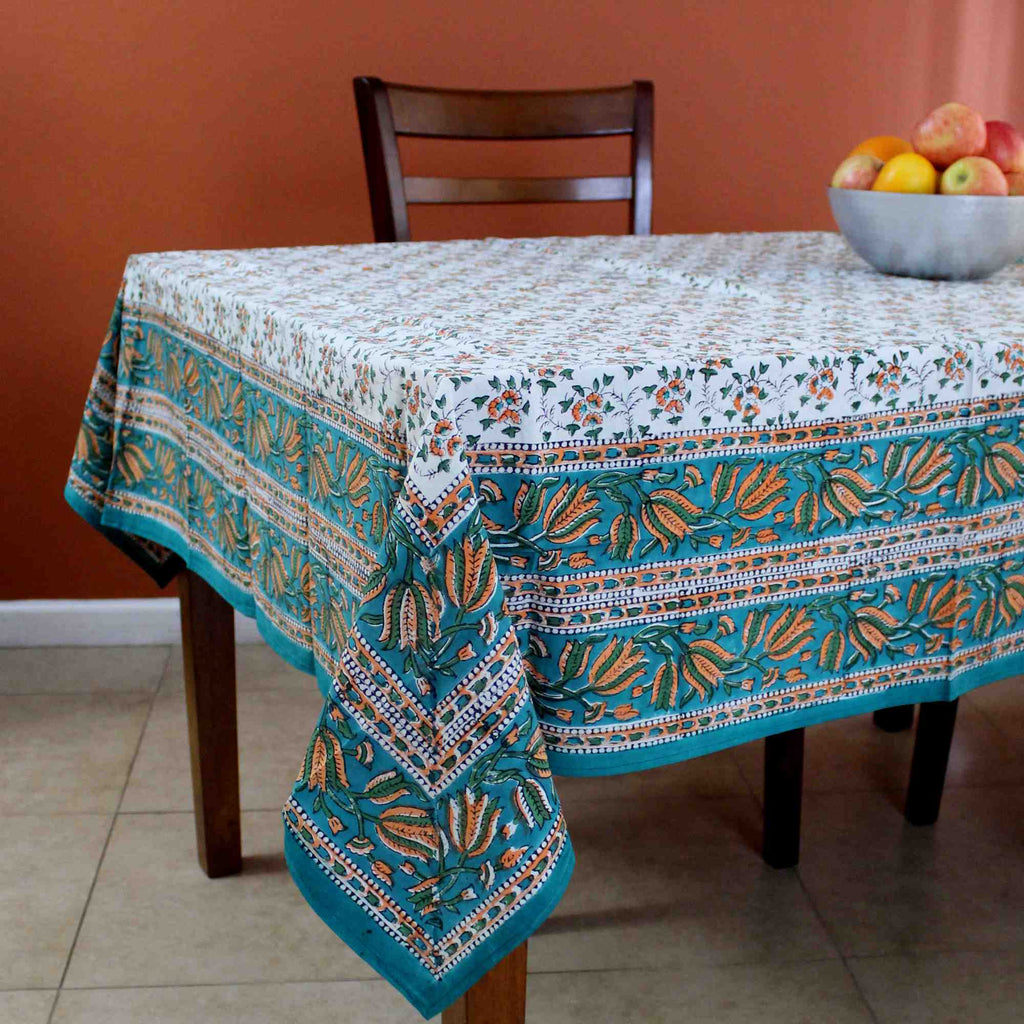 Handmade Hand Block Print 100% Cotton Eternal Floral Vine Tablecloth 60x60 Orange Green - Sweet Us