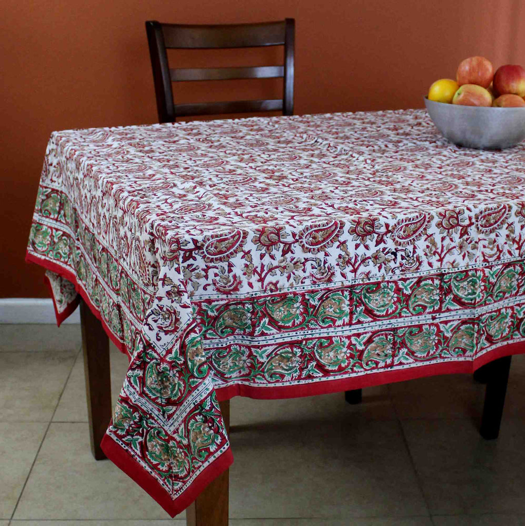 Hand Block Print Cotton Eternal Floral Vine Tablecloth Square 60x60 Red Gold Green - Sweet Us