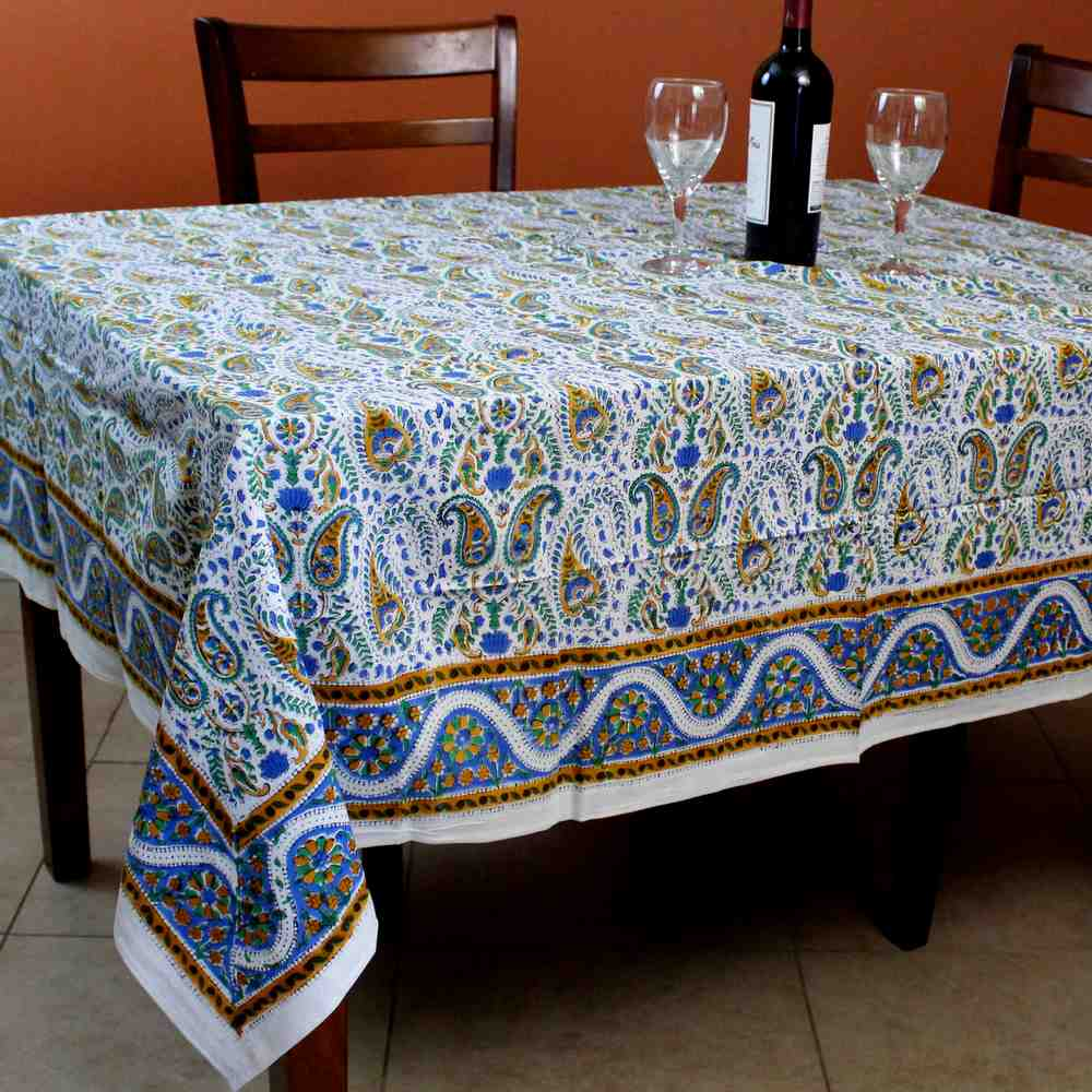 Cotton Hand Block Print Floral Tablecloth Square 72 x 72 inches Gold Blue