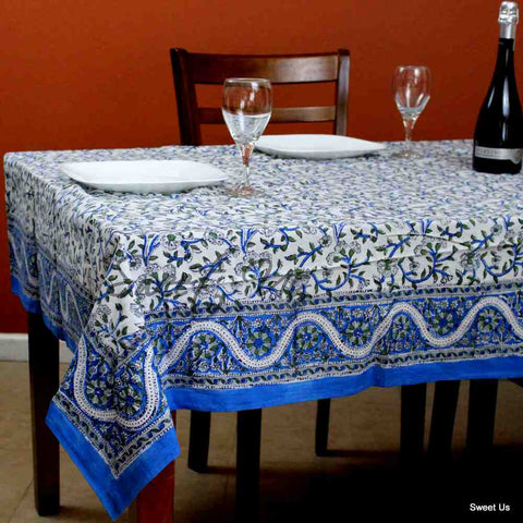 Cotton Block Print Paisley Floral Round Tablecloth Square 72 inch White Blue Green