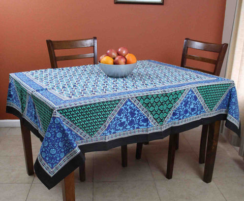 Cotton Floral Geometric Print Tablecloth Square 70x70 Inches Blue Green  Purple
