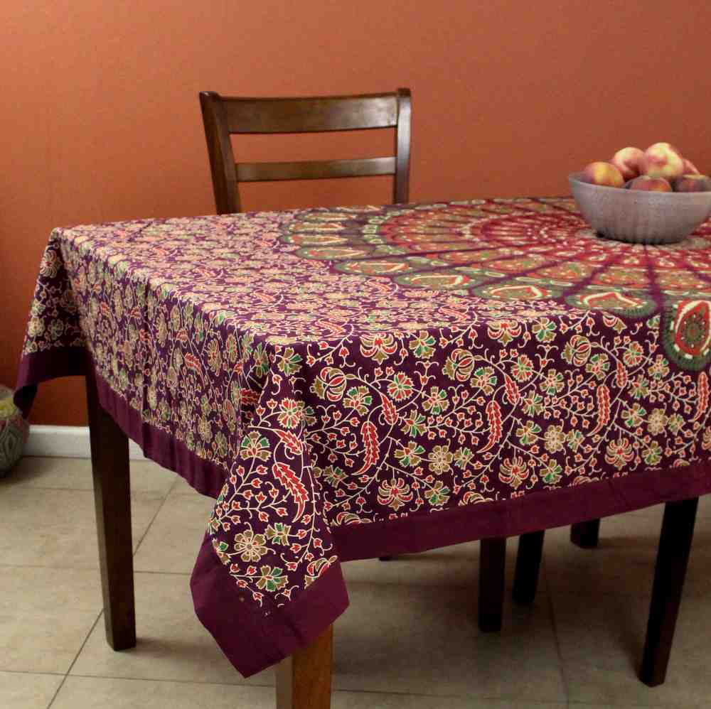 Peacock Mandala Cotton Floral Round Tablecloth Rectangle Burgundy Green