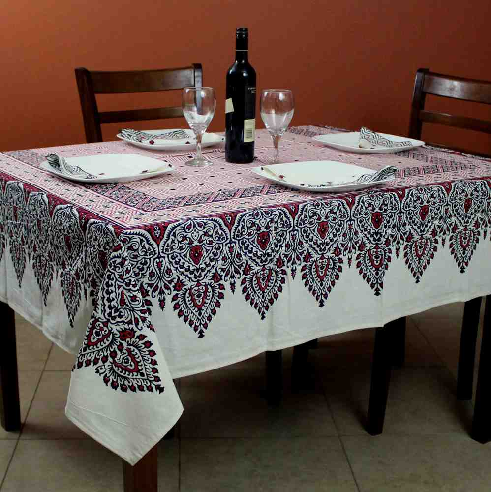 Cotton French Country Geometric Tablecloth Square 72 x 72 Inches Table Linen