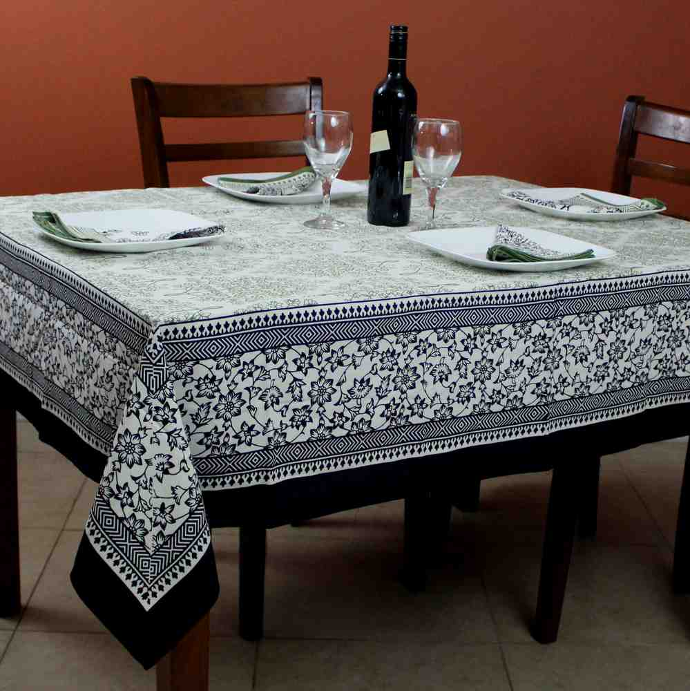 Cotton French Country Floral Tablecloth Square 72x72 Inches Napkins Black Green - Sweet Us