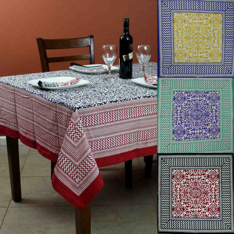Cotton French Country Geometric Tablecloth Square 72 x 72 Inches Table Linen - Sweet Us