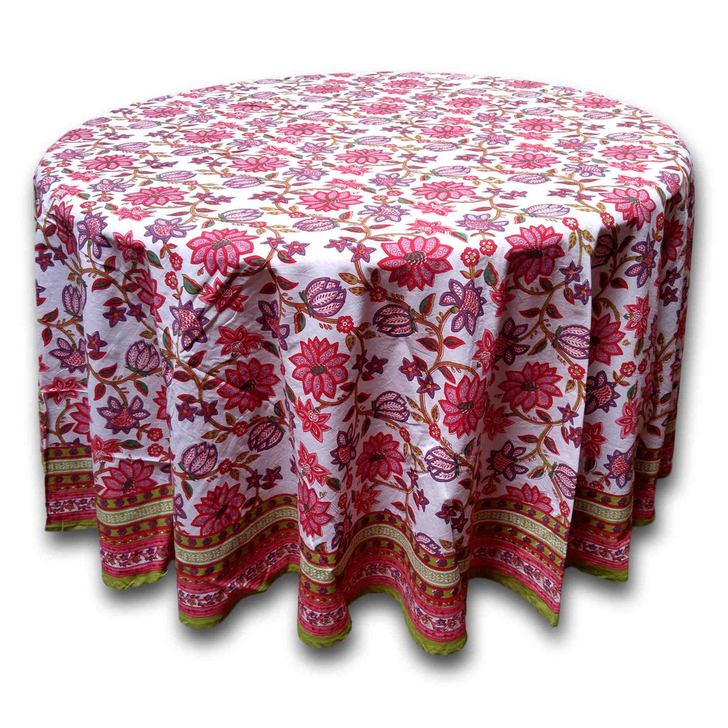 Handmade 100% Cotton Floral Tablecloth 90 Inches Round Red Pink - Sweet Us
