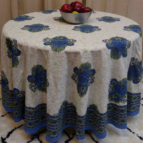"Handmade 100% Cotton Tuscan Style Floral Tablecloth 90"" Round Blue Green - Sweet Us"