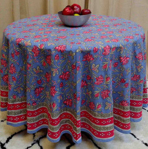 "Handmade 100% Cotton Floral Tablecloth 90"" Round Blue Red Pink - Sweet Us"