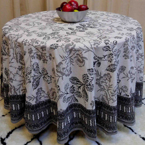 "Handmade 100% Cotton Elegant Floral Tablecloth 90"" Round Gray White - Sweet Us"
