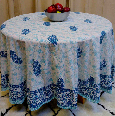 "Handmade 100% Cotton Floral Tablecloth 90"" Round Teal Aqua - Sweet Us"