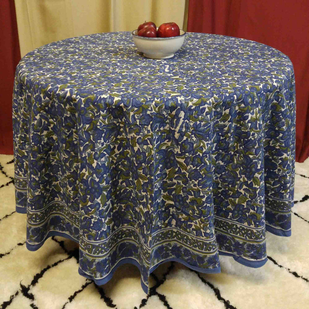 Cotton Floral 88 Inches Round Tablecloth Blue Olive Green
