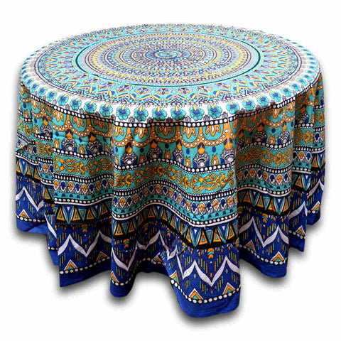 Floral Mandala Cotton Tablecloth Round 88 inches Blue Green Beach Sheet