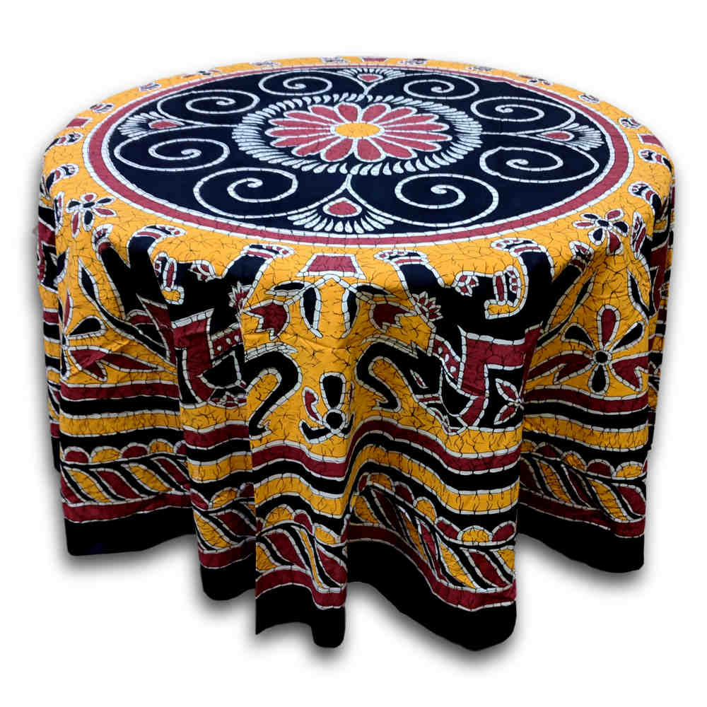 Elephant Batik Cotton Tablecloth Round 90 inches Gold Blue Black Wine Red - Sweet Us