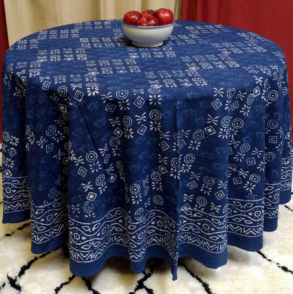 "Handmade 100% Cotton Hand Block Print Dabu Tablecloth 90"" Round Indigo Blue - Sweet Us"