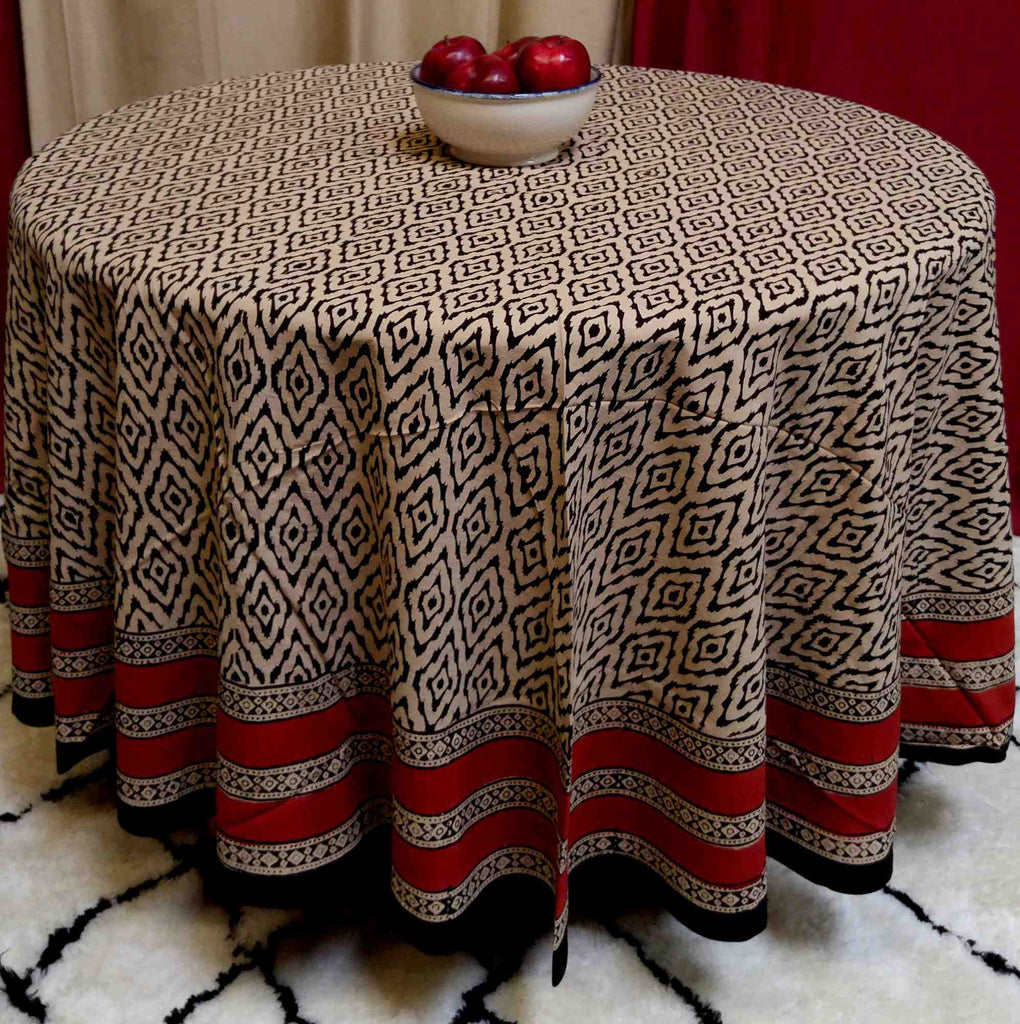 Handmade 100% Cotton Hand Block Print Dabu 90 inches Round Tablecloth Brick Red Beige Tan Black - Sweet Us