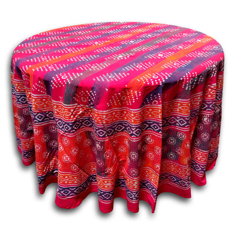 Handmade 100% Cotton Hand Block Print Dabu 90 inches Round Tablecloth Geometric Red Orange - Sweet Us