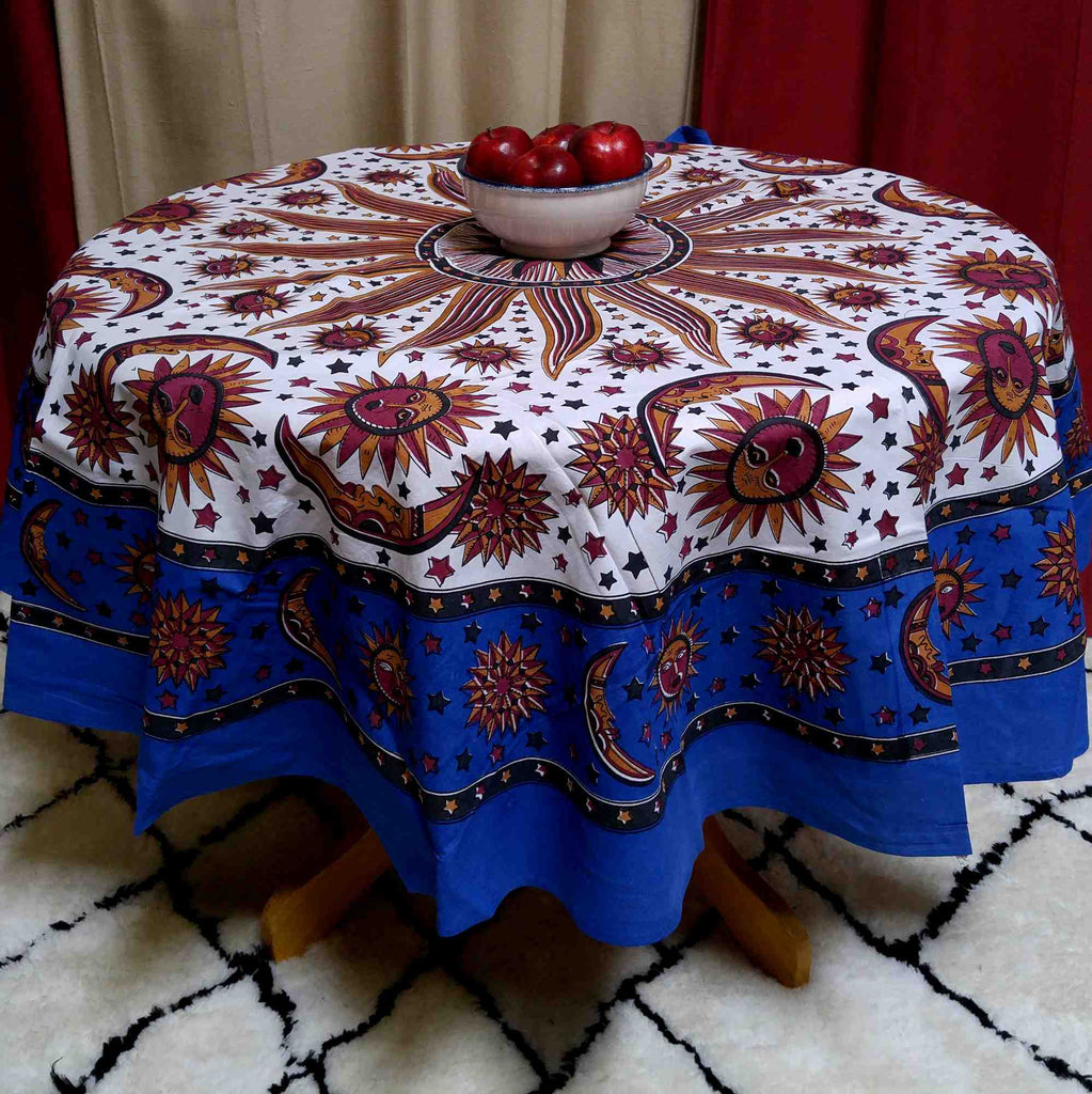 Handmade 100% Cotton Celestial Sun Moon and Star Print Tablecloth 72 Inch Round Blue - Sweet Us