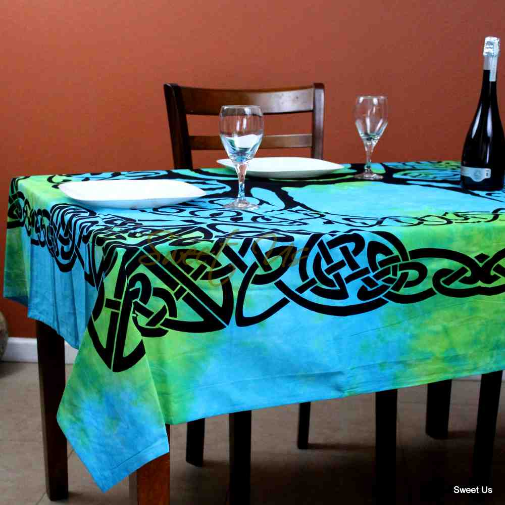 Celtic Tree of Life Tablecloth Square 72x72 Blue Green Purple Orange