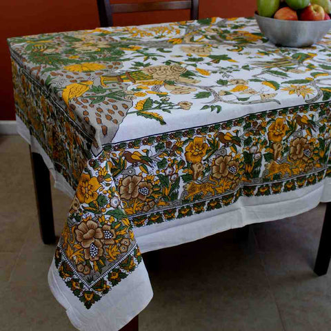 Tree of Life Tablecloth for Square Tables Cotton Floral Tablecloth Round 72 Inch