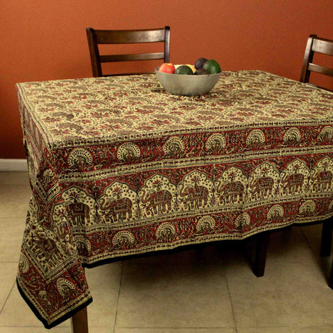 Hand block print Kalamkari Elephant Paisley Floral Square Tablecloth Cotton 78 x 78 inches