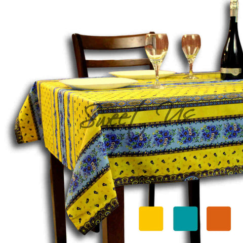 Wipeable Tablecloth Square French Provencal Acrylic Coated Cotton Floral Yellow