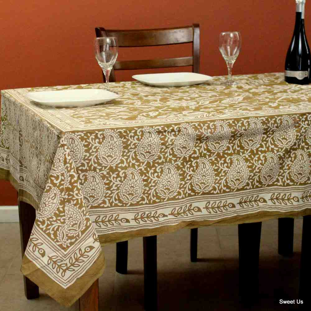 Cotton Paisley Floral Tablecloth Rectangle 70x106 Tan White