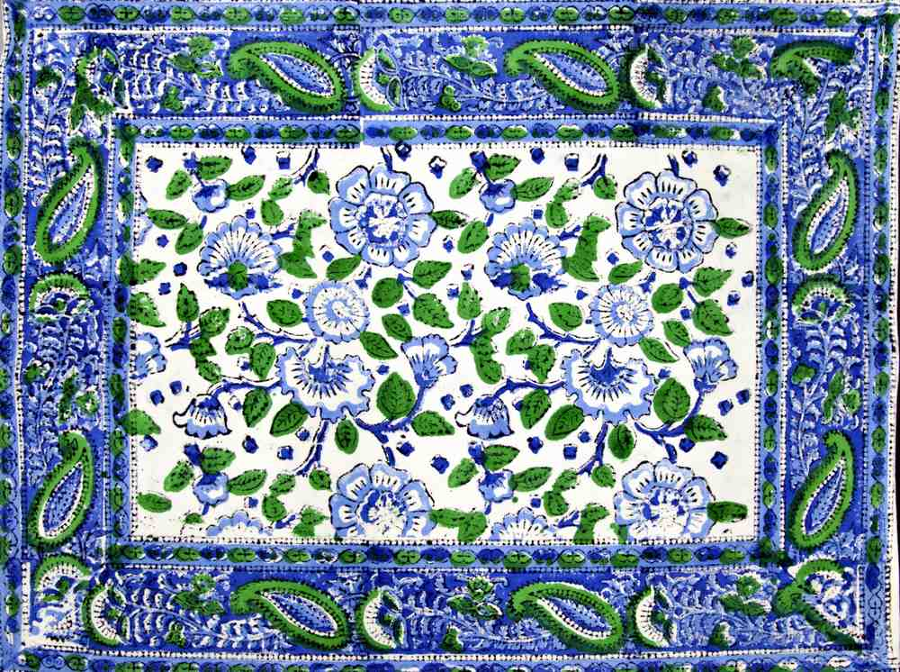 Block Print Floral Napkins Placemats Cotton Table Linen Blue Green Table Mats