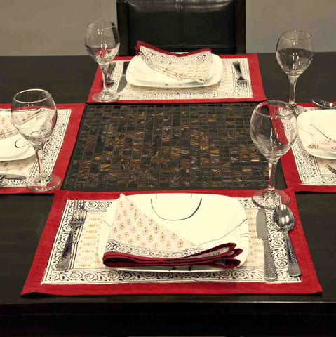Cotton Hand Block Print Floral Buti Placemat Napkin Table Linen