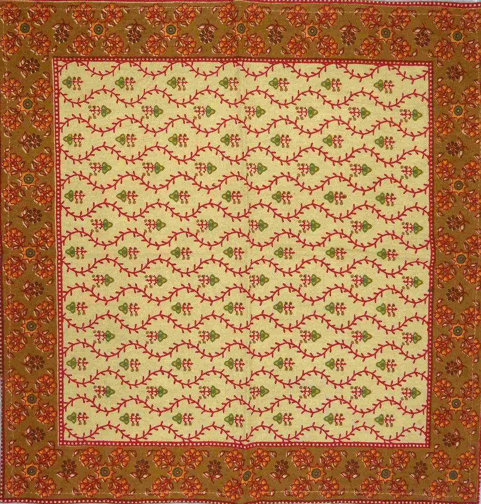 Cotton Floral Vine Square & Round Tablecloth Gold Red Table Linen
