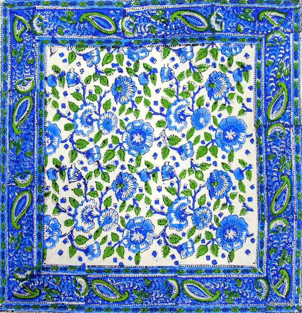 Block Print Floral Napkin Placemat Cotton Table Linen Blue Green Table Mat