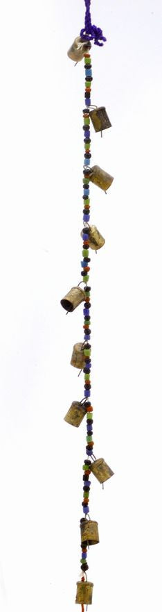 "Chime of Ten Tin Bells with Metal Striker on 38"" Long Cord with Colorful Beads - Sweet Us"