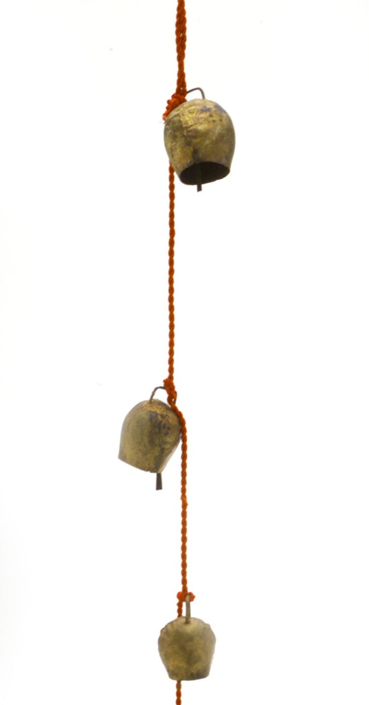 "Chime of Four Dome Shaped Tin Bells with Metal Ringer on 25"" Long Cord"