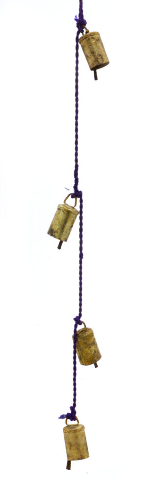 "Chime of Four Tin Bells with Metal Striker on 26"" Long Cord in Assorted colors - Sweet Us"