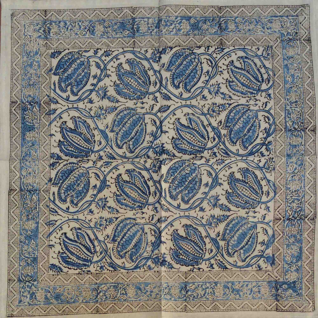 "Handmade Vegetable Dye Hand Block Print Tablecloth 100% Cotton Blue 72"" Round 60x90 Inches 60x60 Napkins Placemats - Sweet Us"