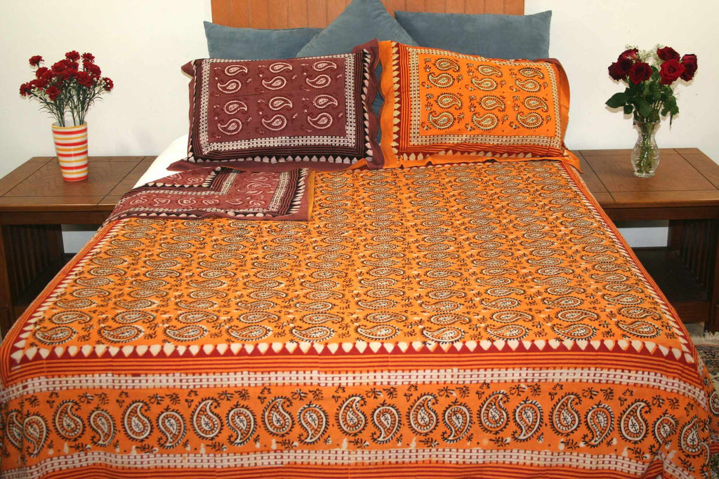 Dabu Block Print Paisley Handmade Reversible 100 Cotton Duvet Cover