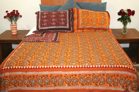 Dabu Block Print Paisley Handmade Reversible 100% Cotton Duvet Cover Queen King - Sweet Us