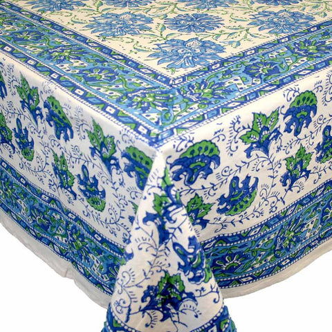 "Handmade Lotus Flower Block Print Cotton Tablecloth Blue 72"" Round 60x90 Rectangular 60x60 Square Napkins Placemats - Sweet Us"