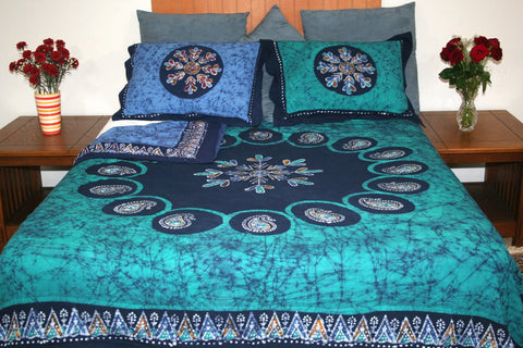 Handmade Cotton Reversible Duvet Cover Multi Batik Paisley Mandala 100% Cotton Full Queen King - Sweet Us