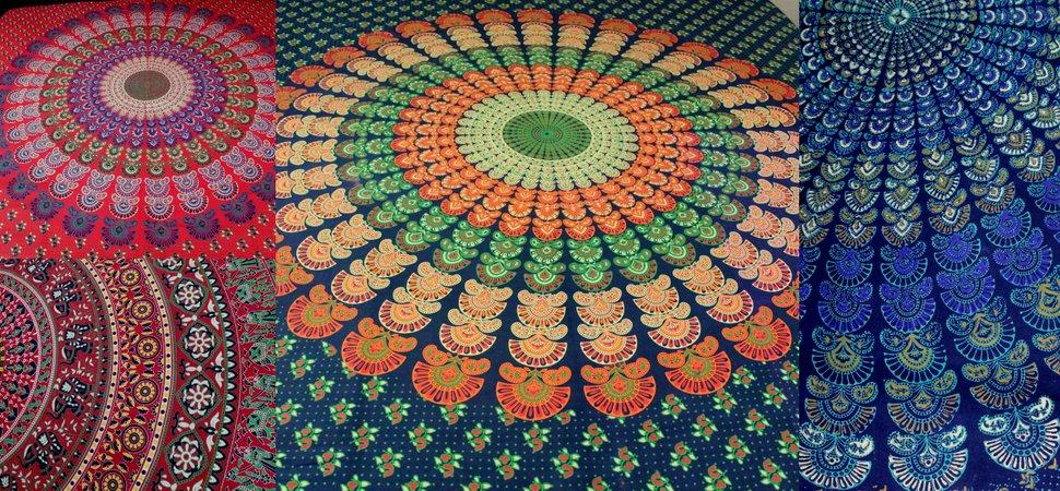 Handmade Cotton Peacock Mandala Floral Tapestries