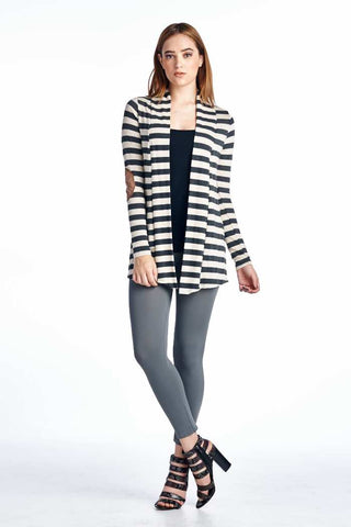 Charcoal Striped Hacci Cardigan with Suede Elbow Patch