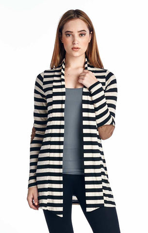 Black Striped Hacci Cardigan with Suede Elbow Patch