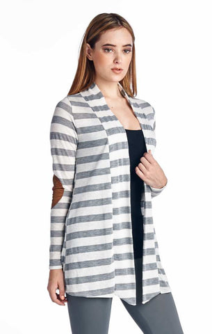 Heather Grey Striped Hacci Cardigan with Suede Elbow Patch